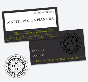 Business cards stationery samples long island print company building restoration consultants unlimited business cards reheart Choice Image